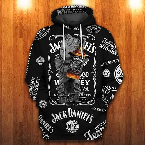 OFFICIAL-JACK-DANIELS-PULLOVER-HOODIES/CUSTOM-3D-ANIMATED-GROOT & OLD-NO.7-BRAND