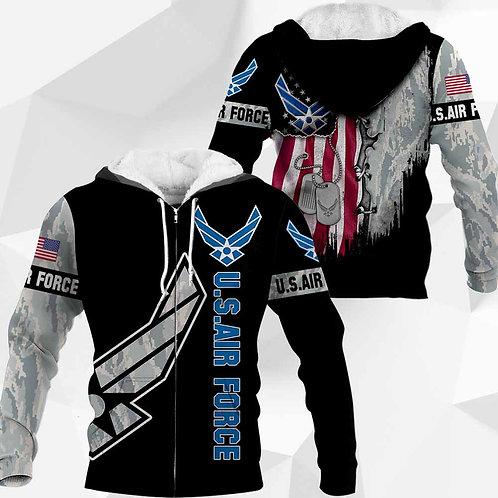 OFFICIAL-U.S.AIR-FORCE-CAMO.ZIPPERED-HOODIES/CUSTOM-3D-PRINTED-FLAG & DOG-TAGS!!