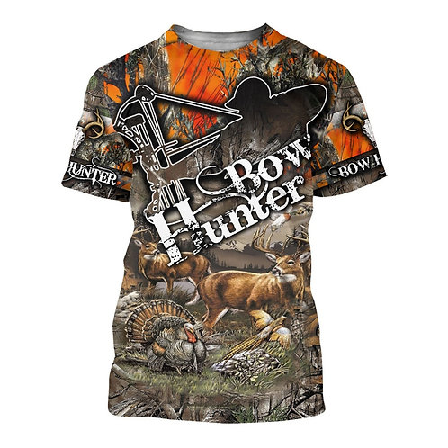 BOW-HUNTERS-TRENDY-CAMO.SPORT-TEE/DETAILED-CUSTOM-3D-GRAPHIC-PRINTED-CAMO.DESIGN