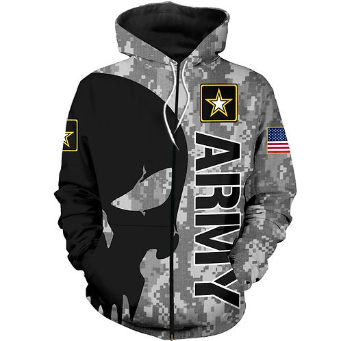 OFFICIAL-U.S.ARMY-ZIPPERED-HOODIES/NEW-CUSTOM-3D-GRAPHIC-PRINTED-PUNISHER-SKULL!