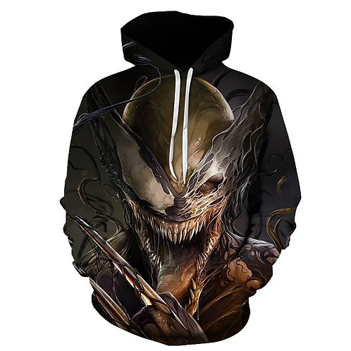 SCARY-NEW-VENOM-SKULL-CHARACTER/NICE-3D-CUSTOM-GRAPHIC-PRINTED-PULLOVER-HOODIES!