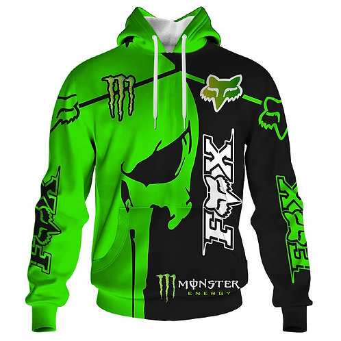 OFFICIAL-FOX-RACING & MONSTER-ENERGY-PULLOVER-HOODIES/CUSTOM-3D-PUNISHER-SKULL!!