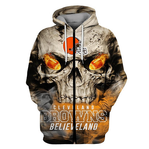 OFFICIAL-N.F.L.CLEVELAND-BROWNS-ZIPPERED-HOODIES/BIG-CUSTOM-3D-SKULL/BELIEVELAND