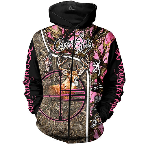 COUNTRY-GIRL-CAMO.ZIPPERED-HOODIES/BOW-HUNTERS-CUSTOM-3D-GRAPHIC-PRINTED-DESIGN!
