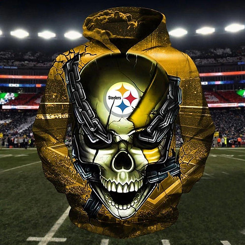 OFFICIAL-N.F.L.PITTBURGH-STEELERS-PULLOVER-HOODIE/CUSTOM-3D-GRAPHIC-CHAINS-SKULL