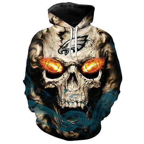 *OFFICIAL-N.F.L.PHILADELPHIA-EAGLES-LOGO-PULLOVER-HOODIES/3D-CUSTOM-NEON-SKULL*