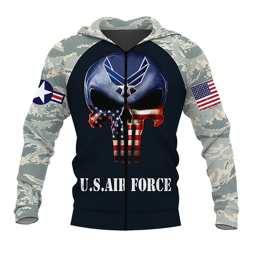 OFFICIAL-U.S.AIR-FORCE-ZIPPERED-HOODIE/CUSTOMIZED-PATROITIC-FLAG-PUNISHER-SKULL!