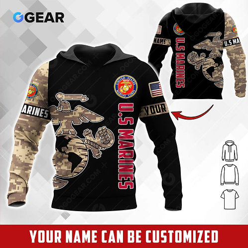 OFFICIAL-U.S.MARINES-PULLOVER-HOODIE/CUSTOMIZE-WITH-YOUR-NAME-OR-MILITARY-UNIT!!