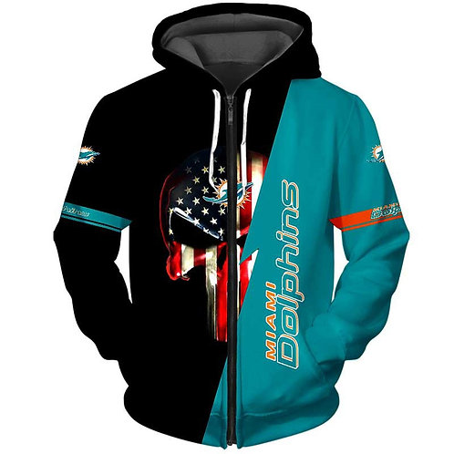 OFFICIAL-N.F.L.MIAMI-DOLPHINS-ZIPPERED-HOODIE/CUSTOM-3D-GRAPHIC-PUNISHER-SKULL!!