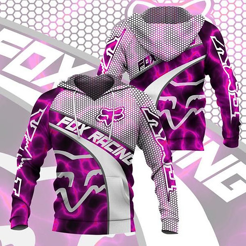 OFFICIAL-FOX-RACING-NEON-PINK-PULLOVER-HOODIES/CUSTOM-3D-GRAPHIC-PRINTED-DESIGN!