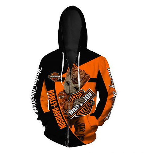 OFFICIAL-HARLEY-DAVIDSON-MOTORCYCLE-BIKER-ZIPPERED-HOODIE/CUSTOM-GROOT-CHARACTER