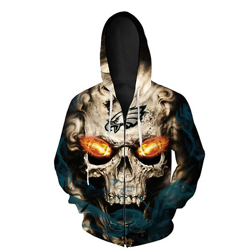 *OFFICIAL-N.F.L.PHILADELPHIA-EAGLES-LOGO-ZIPPERED-HOODIES/3D-CUSTOM-NEON-SKULL*