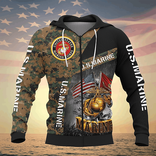 OFFICIAL-U.S.MARINES-CAMO.ZIPPERED-HOODIE/CUSTOM-3D-PRINTED-DOUBLE-FLAGS & GLOBE