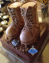 army boots shaped cake