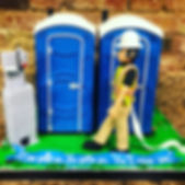 Outhouse shaped cake, retirement cake