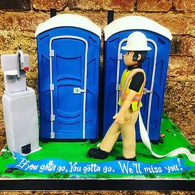 Outhouse shaped cake, retirement cake