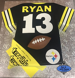 Football jersey cake, terrible toel, Pittsburg Steelers