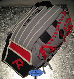 Baseball glove shaped cake