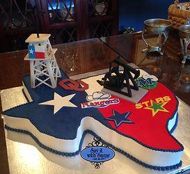 texas shaped cake, dallas stars, Cowboys, texas rangers, dallas mavericks