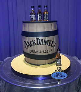 Jack Daniels whiskey barrel grooms cake