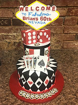 Poker themed birthday cake, blackjack, dice, las vegas, birthday cake