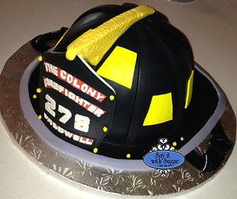 firefighter hat cake