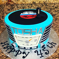 Vintage record player birthday cake