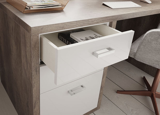 Home Office Dark Oak & Gloss White Detai