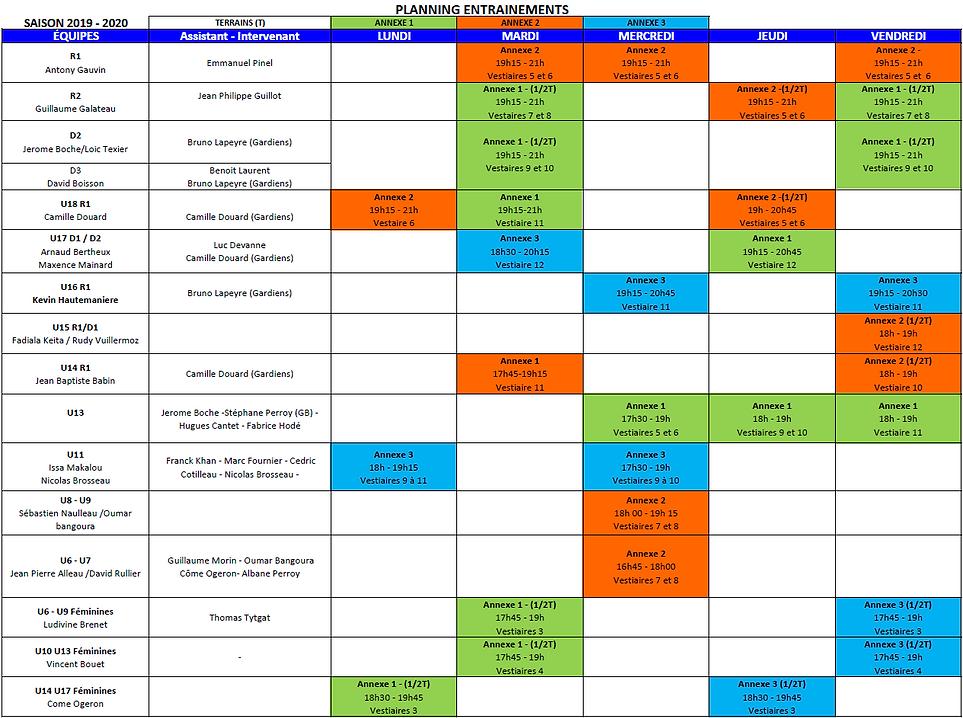 Planning Entrainement saison 2019-2020.P