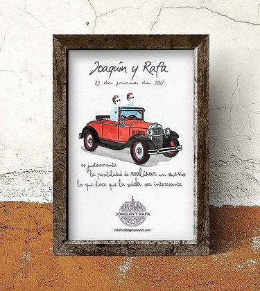 Invitación de boda con coche de época