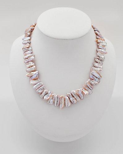 "19"" ""Biwa-Like"" Freshwater Lavender Pearl Necklace"