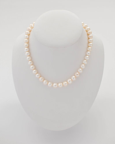 "16"" White Freshwater Pearl necklace with a 14K yellow gold stardust ball"