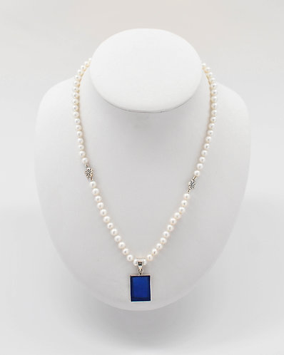 White Freshwater Pearl Necklace With Frosted Glass 5.5-6.5 mm
