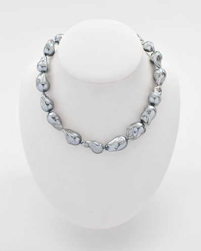 "16"" Bead-Nucleated -Fireball Freshwater Baroque Silver-Gray Pearl Necklace"