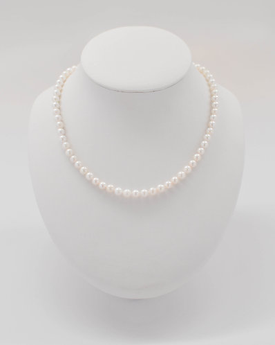 "17"" White Freshwater Pearl Necklace 5.5-6.5 mm"