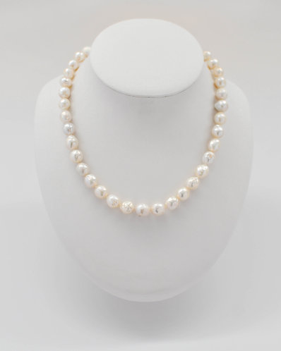 """18"""" Metallic Nucleated Wrinkle Edison Pearl Necklace 8-11 mm"""