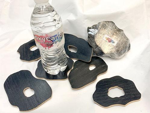 """Wood Veneer 4"""" GEODE Coaster set of 6"""