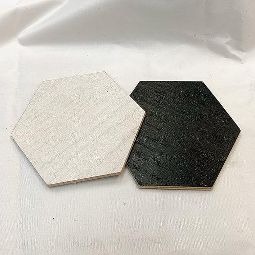 """Wood Veneer 4"""" Hexagon Coaster set of 4"""