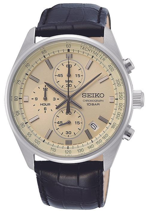 SSB383P1 Seiko heren chronograaf staal zwart leer creme