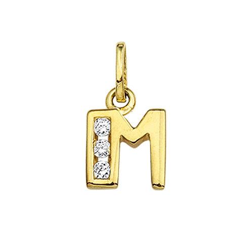27250018 Geelgouden hanger letter zirconia M