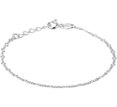 214803 Zilveren enkelbandje facet - gourmette  24-26cm