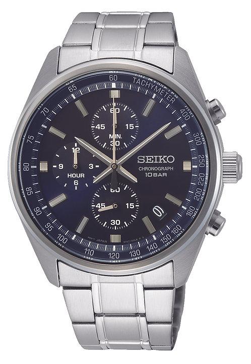 SSB377P1 Seiko heren chronograaf staal bracelet blauw 100m