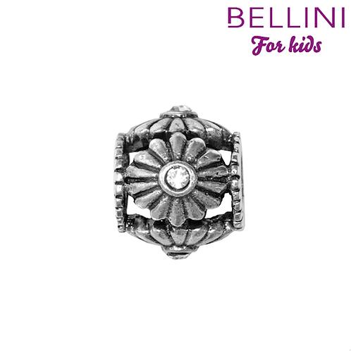 564419 Bellini zilveren bedel bloem  wit
