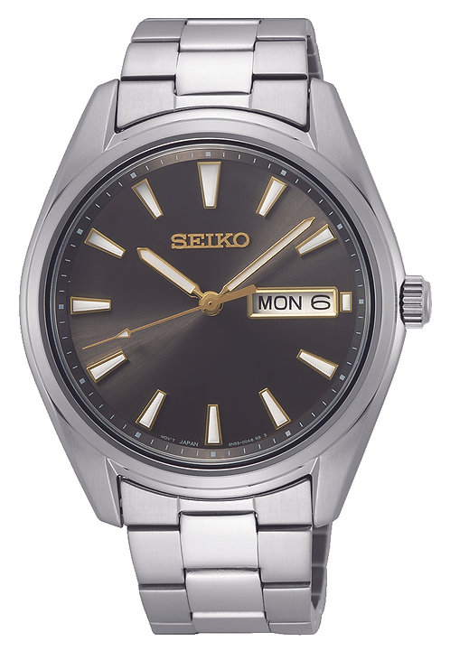 SUR343P1 Seiko heren new link staal bracelet zwart 100m
