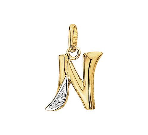 27250019 Geelgouden hanger letter diamant 0.005ct N