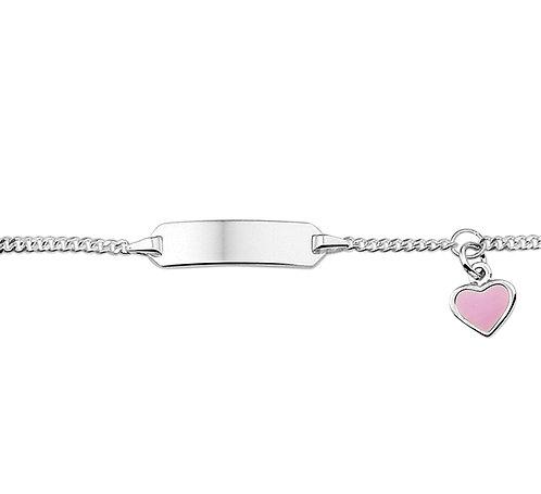 32300010 Zilveren plaatband 11-13cm roze hartje