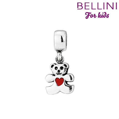 568402 Bellini zilveren bedel beer rood hart hangend