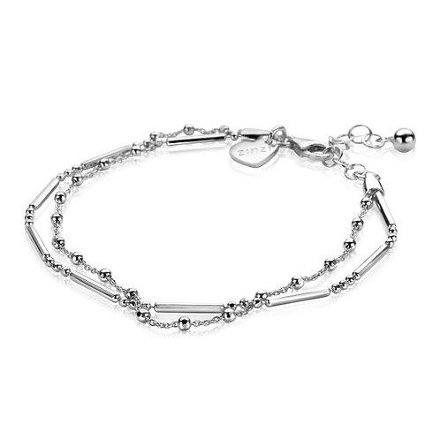 ZIA1461 ZINZI Zilveren multi-look armband