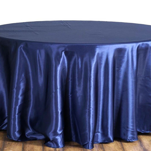 Satin Round Tablecloth Navy
