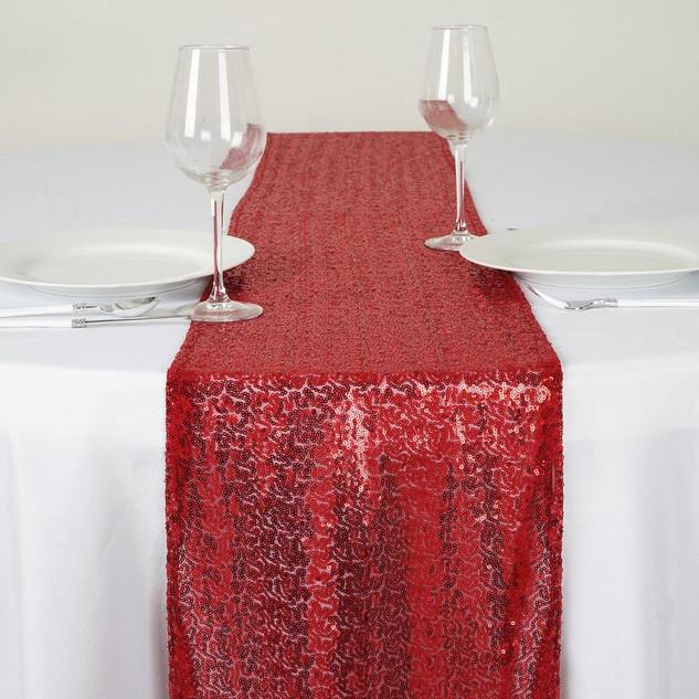 "Sequin Table Runner  Burgundy ""A"""